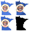 US Minnesota state flag over map collage