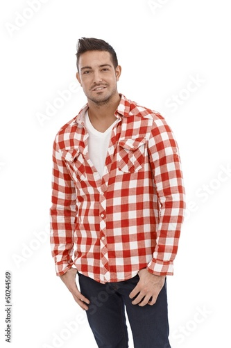 Casual young man in shirt and jeans