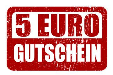 5 EURO Gutschein, Vektor Stempel
