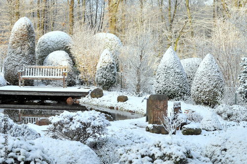 canvas print picture Winter im Garten