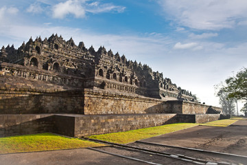Borobudur mandala temple in surice , near Yogyakarta on Java, In