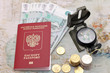 Passport, money and compass. background of the map of the world