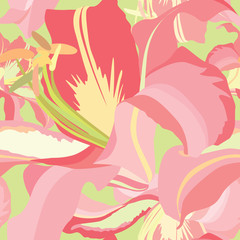 floral seamless pattern with white and pink flowers lily