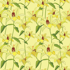 floral seamless pattern with gentle flowers lily