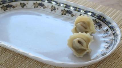 Dish with raviolis