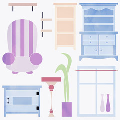 illustration of furniture for the interior isolated