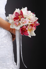 Beautiful wedding bouquet with orchid