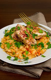 Tomato pilaf with chicken and sumac
