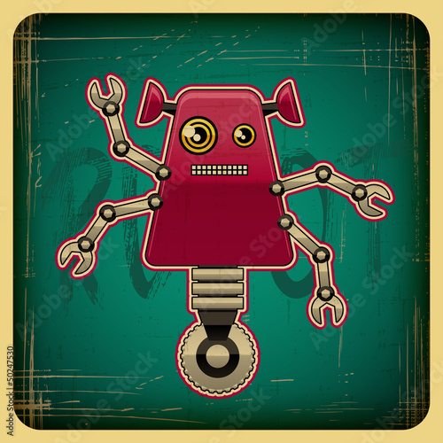 Foto op Canvas Robots Card in retro style with the robot.