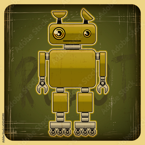 Keuken foto achterwand Robots Card in retro style with the robot.