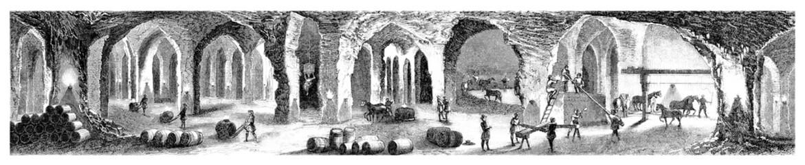 Poland : Salt Mines (Wieliczka) - 19th century
