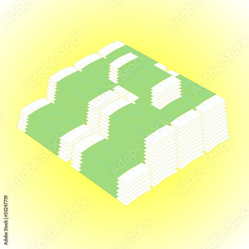 packs of dollars, illustration