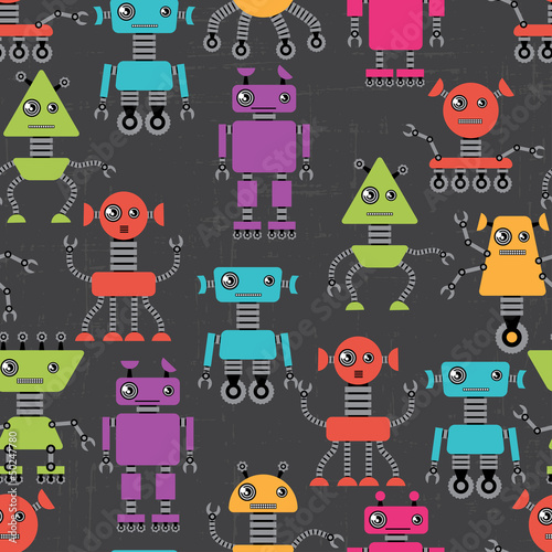 Plexiglas Robots Cartoon robots seamless pattern.