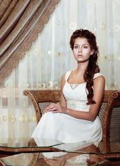 Femininity. Bride in Wedding Dress. Classic Romantic Interior