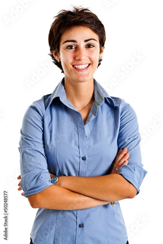 Smiling businesswoman isolated on white