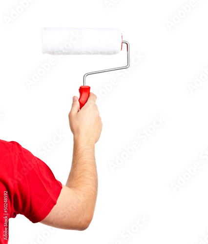 Painter with painter roller isolated on white