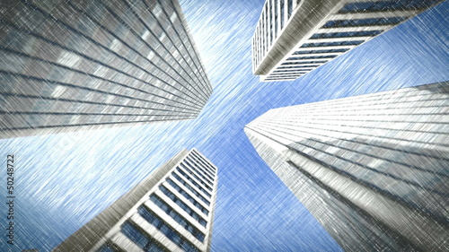 Drawn low vision of skyscraper skies