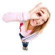Funny Schoolgirl or Student over white
