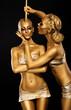 Fantasy. Creativity. Shiny Women's Gold Gilded Bodies. Arts