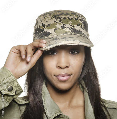 Femal army soldier woman
