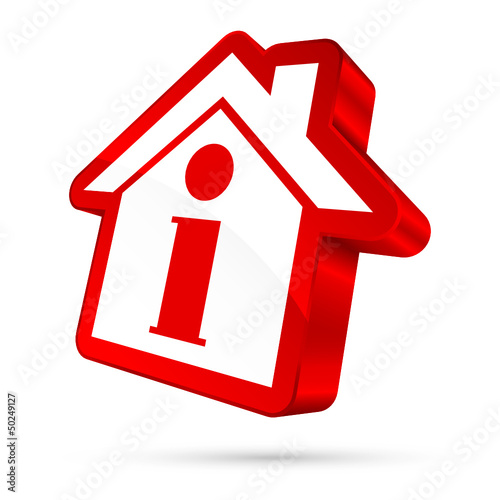 House Icon Information 3D White/Red
