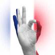 Hand OK sign with French flag