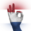 Hand OK sign with Dutch flag