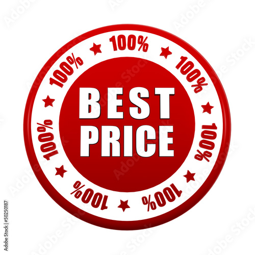 100 percentages best price 3d red circle label