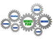 business plan and concept words in silver grey gearwheels
