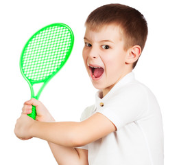 angry little tennis player in training. isolated
