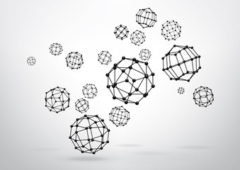 Composition of wireframe elements in the form of polyhedron