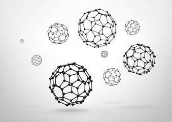 Composition of wireframe elements, truncated Icosahedron