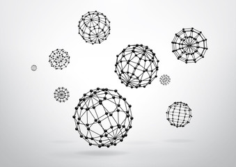 Composition of wireframe elements in the form of sphere