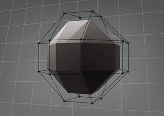 Black rhombicuboctahedron for graphic design
