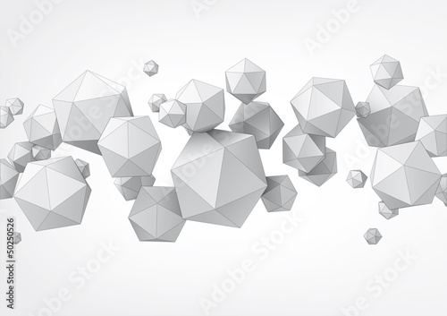 Poster Composition of icosahedron for graphic design
