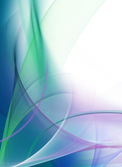 Abstract gentle blue and green waves on white background