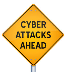 Cyber Attacks Ahead warning sign isolated on white background