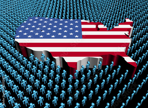 USA map flag surrounded by many abstract people illustration