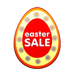 easter sale in red egg shape label with flowers