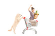 White retriever dog pushing a woman in a shopping cart