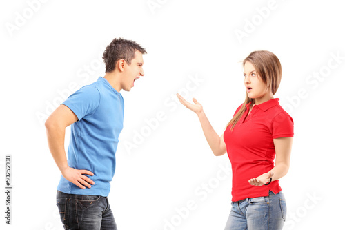 Young man and woman arguing