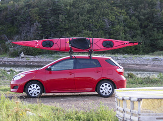 kayak on a small car
