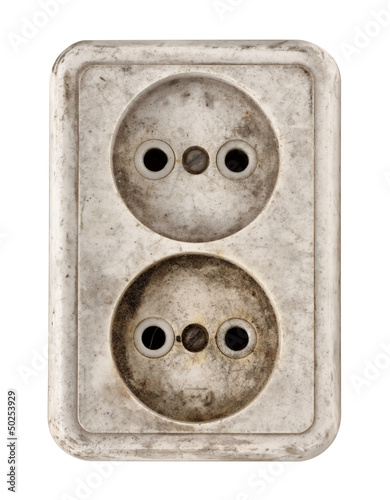 Old dirty electrical outlet