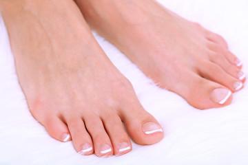 Beautiful woman legs on white carpet