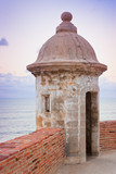Lookout tower at El Morro Castle fort in old San Juan, Puerto Ri