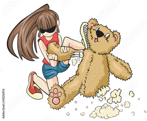 A naughty girl is destroying a teddy bear aggressively.