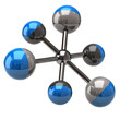 Illustration of blue and silver molecule icon