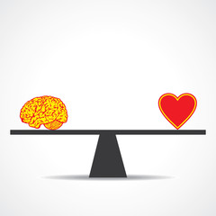 Compare mind with heart stock vector