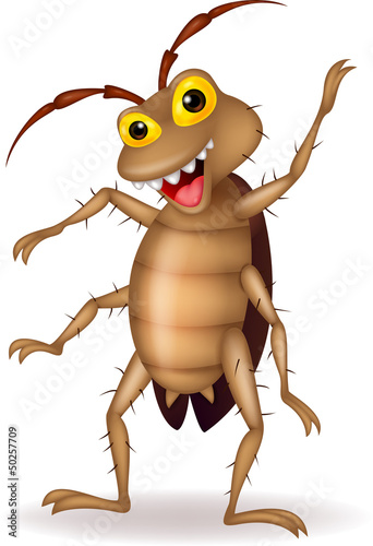 Cockroach cartoon waving hand