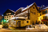 Illuminated Street of Megeve on Christmas Night, French Alps, Fr